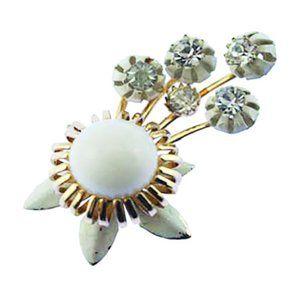 White Enamel Rhinestone Flower Brooch